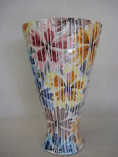 "Art Pottery Flower And Stripe Vase, Made In Italy By 2/B.C. 10"" Tall"