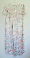 Miss Elaine Classics Sheeny Off White Nightgown with Roses, Size M