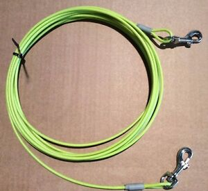 15 Ft DOG STEEL WIRE GARDEN CAMPING TIE OUT LEAD. 5MTR MADE IN UK
