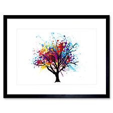 Painting Illustration Abstract Colourful Tree Splash Framed Wall Art Print