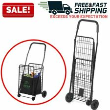 Folding Utiity Cart Collapsible Grocery Shopping Basket 4 Wheeler Laundry Sports