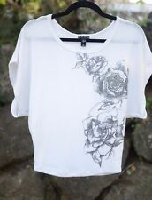 Fang Sz X SMALL / XS White w/ FLORAL ROSES Knit Sweater Short Batwing Dolman Top
