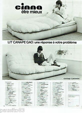 PUBLICITE ADVERTISING 115  1978  CINNA  lit canapé GAO