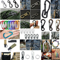 1-10Pcs Outdoor Camping Steel Buckle Carabiner Keychain Key Ring Clip Hook JP