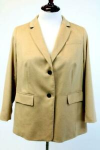 NEW TALBOTS Camel Brown Blazer Jacket WOVEN IN ITALY Two-Button PLUS PETITE 14W