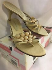 "Shoes BANDOLINO 3"" High Heel SHEER GOLD NUDE Beaded Slides Sandal Silk 6.5"