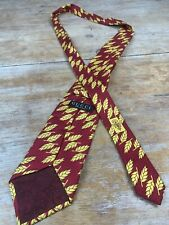 Gucci 100% Silk Red With Gold Wheat Pattern Design Tie Made In Italy L47