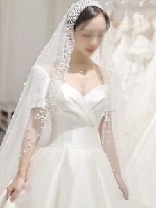 1 T Wedding Veil Bridal Cathedral Pearls Long Veil Chapel Church Veil no Comb
