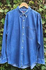 RALPH LAUREN CHAPS Vintage Blue Denim Shirt Button Down Collar - Large