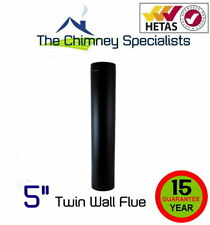 "Volcano Plus Twin Wall Flue Pipe 1 metre length 5"" Black - Insulated Chimney"