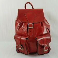 Handcrafted Backpack Small Purse Leather Red