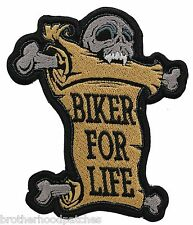 BIKER FOR LIFE SKULL embroidered PATCH
