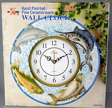 New  Ceramic Round Quartz Fish Wall Clock 4 Fishes Bass Sword