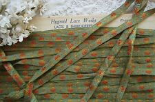 1y VTG FRENCH ORANGE YELLOW FLORAL ROSES GREEN WOVEN JACQUARD SATIN RIBBON TRIM
