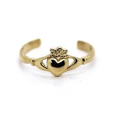 "14 Karat Solid Yellow Gold Adjustable Toe Ring Irish Celtic ""Claddagh"""