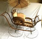 """Antique 55""""LONG WICKER BABY CARRIAGE w/ PARASOL. SEARS 1901 catalog."""