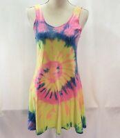 I.G. Sport Women's Tie Dye Top Dress Size S/M Hippie Yellow Green Orange Gored