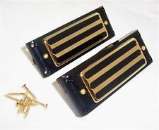 PAIR OF ARTEC NEO TRADITIONAL TRI HOLE MINI HUMBUCKER PICKUPS & SURROUNDS /AP20G