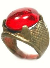 Antique 19thC Crimean Tatar Silver Bronze Alloy Ring Ruby Red Glass Gem Size 6¼
