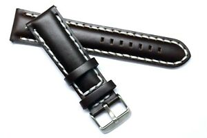 20mm 22mm Black or Brown Leather Thick Stitching Watch Band Silver Tone Buckle