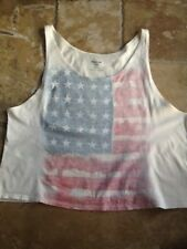 New listing Cea Jae Urban Outfitters Womens Tshirt Tank Beige Graphic American Flag-size Med