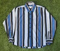 90s Vintage CAMPUS Mens Vertical Stripe Shirt XL | Long Sleeve |