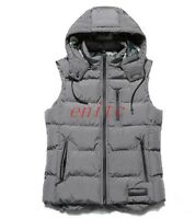 Mens Down Vest Sleeveless Outwear Hooded Slim Fit Thick Cotton Waistcoat M-3XL