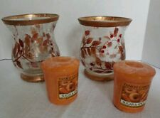 Yankee Candle Crackled Glass Autumn Design Votive Holder Set 2 plus candles NEW