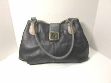 """Plum"" Black Gray & Beige Satchel Handbag Purse"