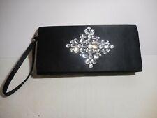 Black Satin Rhinestone Clutch Evening Bag NY&C New York and Co Purse