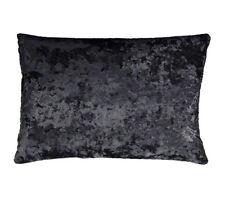 """Rectangle Scatter Crushed Velvet Boudoir Cushion Black Cover Only 11"""" X 21"""""""