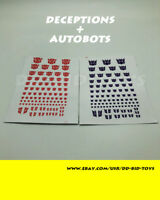 Transformers G1 Decepticons+Autobots Symbol Sticker Decal for Custom COOL