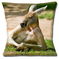 "Funny Novelty Kangaroo 'Relax in the Sun' Photo Print 16"" Pillow Cushion Cover"
