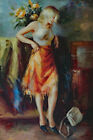 Blonde Woman Beautiful Portrait Casual Dress Tall 36X24 Oil Painting STRETCHED