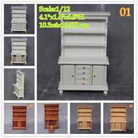 1/12 Scale Dollhouse Miniatures Display Shelf Wood Hutch Cabinet Room Furniture