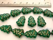 12 17x7mm Czech Glass Christmas Tree Beads: Emerald - Gold Inlay