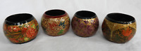 Set of Four Vintage Kashmir Hand Lacquered Wooden Napkin Rings - Lovely Items