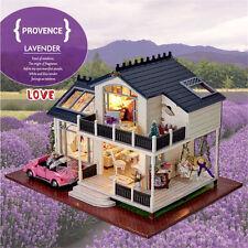 New DIY Double-deck Cabin Doll House LED Dollhouses Miniature Kit Christmas Gift