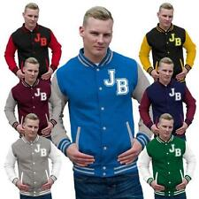 Button Cotton Blend Baseball College Coats & Jackets for Men