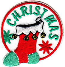"""""""CHRISTMAS"""" STOCKING - Iron On Embroidered Patch-Christmas,Holidays,Decoration"""