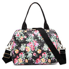 Ladies Designer Oilcloth Flower Print Medium Tote Handbags Messenger Bag Black