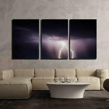 "Wall26 - Lightning in Dark Night Sky - Canvas Art Wall Decor - 16""x24""x3 Panels"