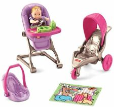 Doll House Furniture Fisher-Price Baby High Chair Stroller Blanket Kids Toys