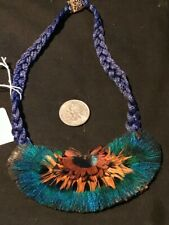 "12"" Peacock Bird Pendant Blue / Green - Real Feathers - Necklace"