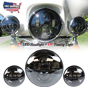 "7"" Black LED Projector Headlight +4.5"" Passing Light For Harley Davidson Touring"