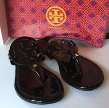 Tory Burch Miller Black Sandals Patent Leather Shoes Size 8M New