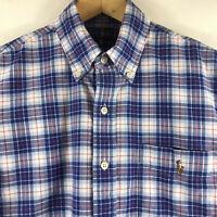 Ralph Lauren Mens Short Sleeve Button Down Blue Plaid Oxford Shirt Size Medium