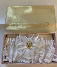 Vintage Jamie Lynn Bridal Wedding Garter Belt White Lace With Floral Charm LNIB
