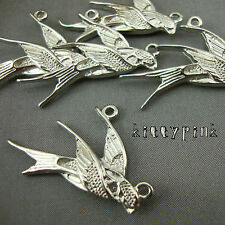 5 Silver Plated Kitsch Swallow Bird Connector Charms