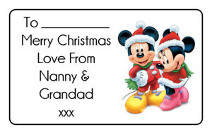 Personalised Mickey Mouse Christmas Santa Gift Tags Stickers Xmas Present Wrap